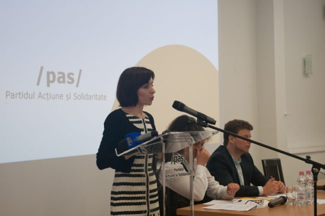 Maia Sandu la congresul de constituiere al Partidului Acțiune și Solidaritate(PAS). 15 mai 2016