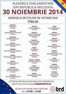 Secțiile de votare pentru moldoveni din Italia Sursa Biroul de relații cu diaspora