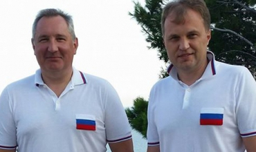 Dmitri Rogozin cu Evgehni Șevciuk în Crimea, iulie 2014. Sursa Foto Point.md