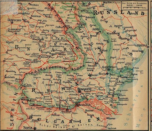 Harta operațiunilor militare în România la 10 septembrie 1916.
