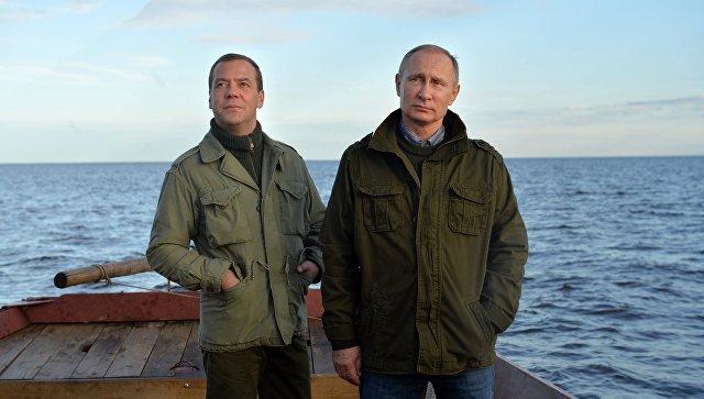 Putin și Medvedev pe lacul Ilimeni. Foto Alexei Drujinin