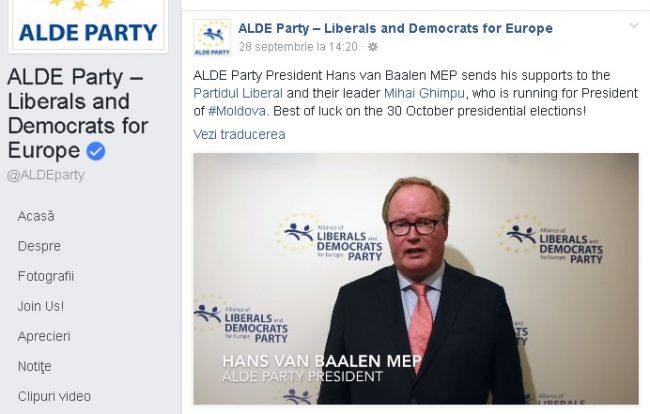 Preşedintele Partidului Alde Hans Van Baalen deputat în Parlamentul European îşi trimite sprijină la liderul lor Partidul Liberal și Mihai Ghimpu