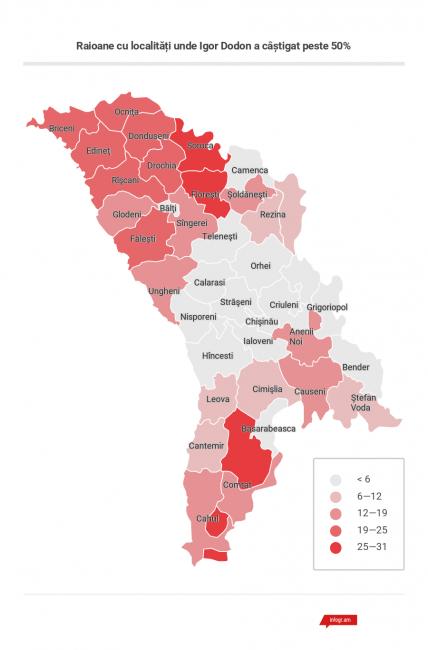 Raioane cu localitățile unde Igor Dodon a câștigat peste 50%. FOTO moldnova.eu