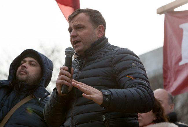 Andrei Năstase la un protest din Piața Marii Adunări Naționale, 15 ianuarie 2016 FOTO: Sandu Tarlev