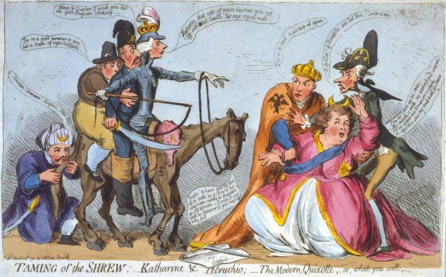 Caricatură britanică din 1791: toată lumea încearcă să o îmblânzească pe țarina Ecaterina a II-a. Sursa foto