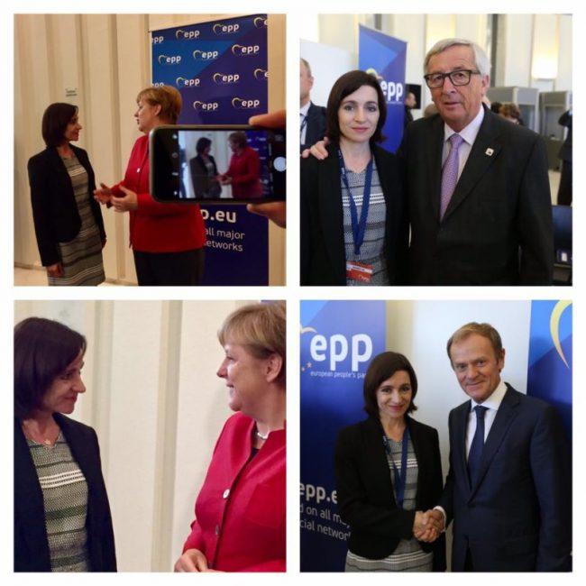 Maia Sandu alături de Președintele Consiliului European, Donald Tusk. (Ppoza din colțul drept) încadrați între bannerele partidului PPE.