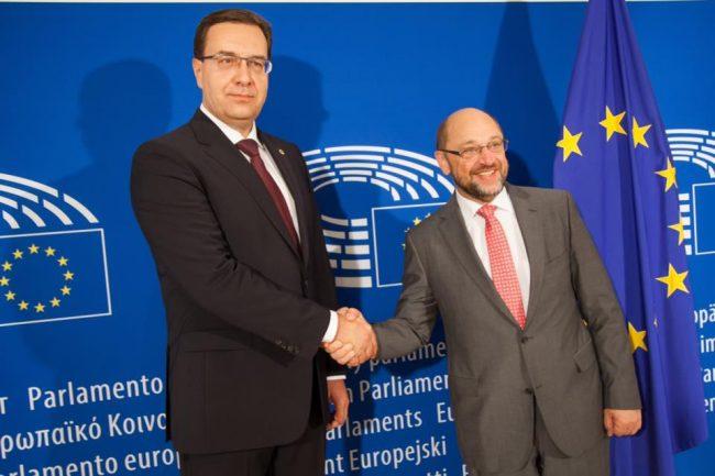 Marian Lupu împreună cu Martin Schulz, președintele Parlamentului European. Foto: Profil Facebook