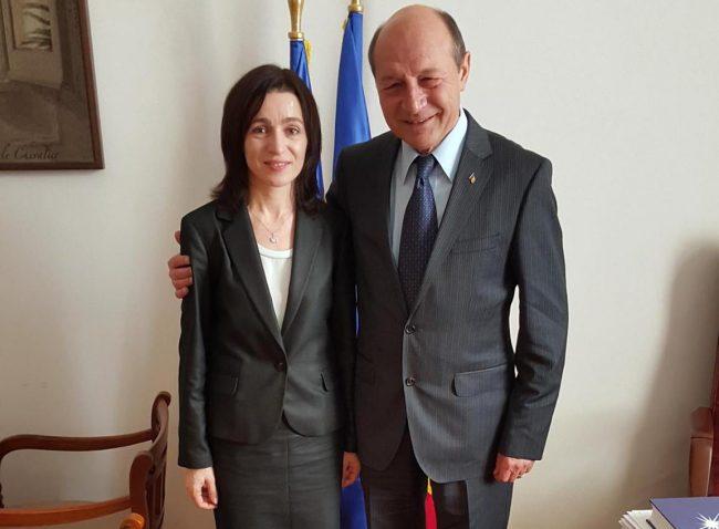 Traian Băsescu și Maia Sandu FOTO: Facebook
