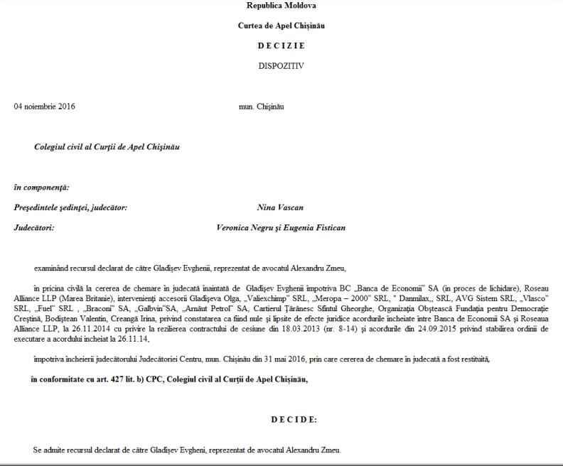 Decizia Curții de Apel privind creditele neperformante luate de la BEM