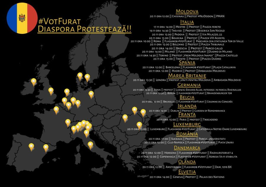 Orașele din Europa unde vor protesta moldovenii FOTO Facebook/Adoptă un vot
