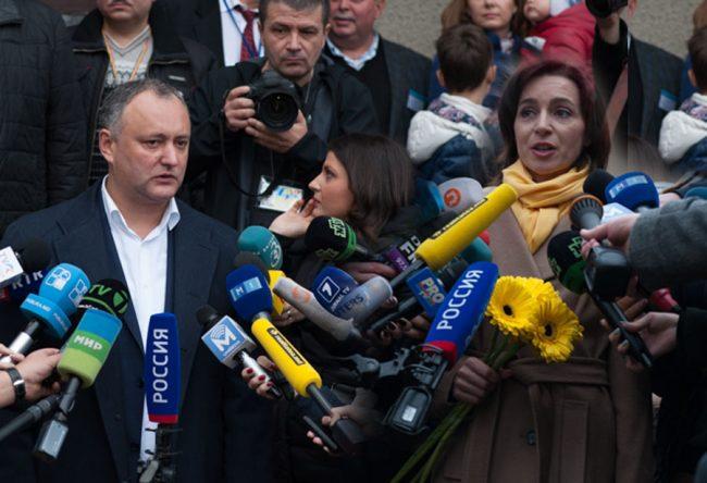 Igor Dodon a învins-o pe Maia Sandu în turul II al alegerilor prezindețiale. FOTO: Sandu Tarlev