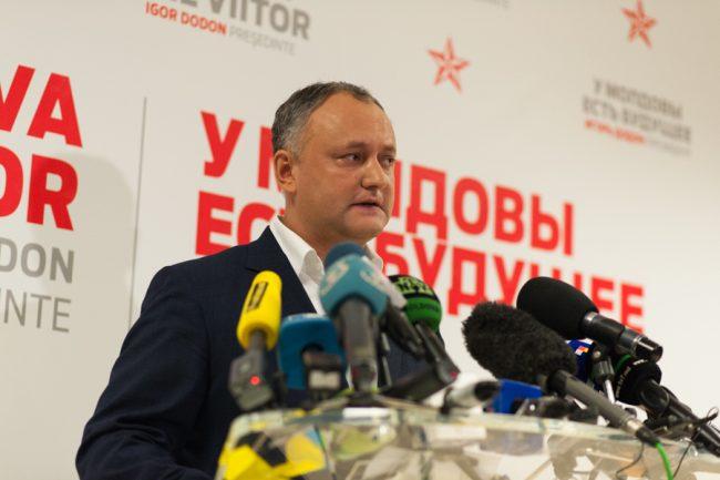 Igor Dodon la sediul Partidului Socialiștilor FOTO: Sandu Tarlev