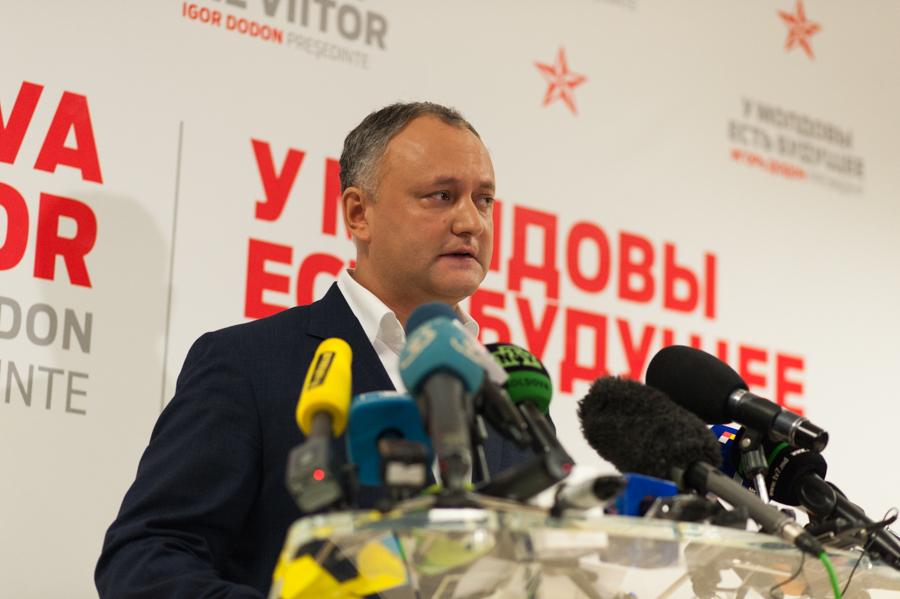 Igor Dodon la sediul Partidului Socialiștilor. FOTO: Sandu Tarlev