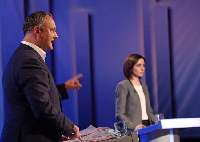 Igor Dodon și Maia Sandu, la dezbateri electorale în platoul Moldova1 FOTO profilul de Facebook al liderului PSRM