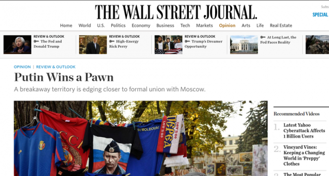 The Wall Street Journal, despre Transnistria Sursa