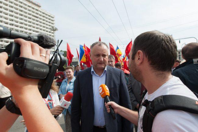 Igor Dodon, la un protest al Partidului Socialiștilor din Republica Moldova, 27 septembrie 2015 FOTO: Sandu Tarlev