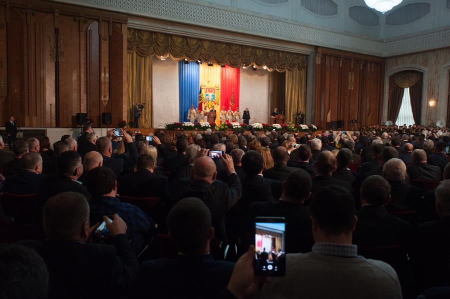 Sala Palatului Republicii în timpul învestirii lui Igor Dodon FOTO: Sandu Tarlev